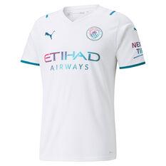 Manchester City 2021/22 Mens Replica Away Jersey White S, White, rebel_hi-res