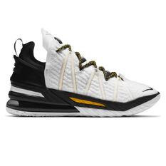 Nike LeBron XVIII Home Basketball Shoes White US 5.5, White, rebel_hi-res