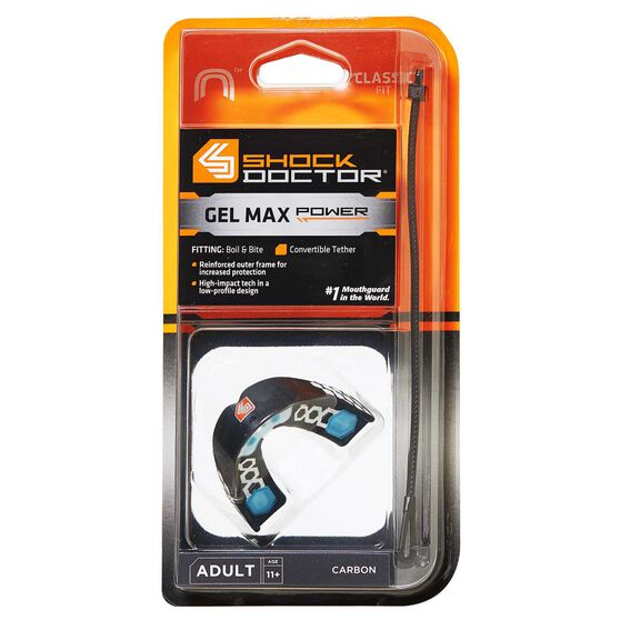 Shock Doctor Gel Max Power Kids Mouthguard Grey Youth, , rebel_hi-res