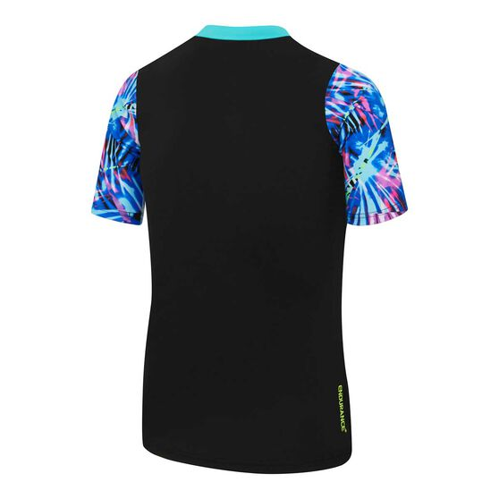 Speedo Girls Rays Splice Short Sleeve Rash Vest Black / Blue 14, Black / Blue, rebel_hi-res
