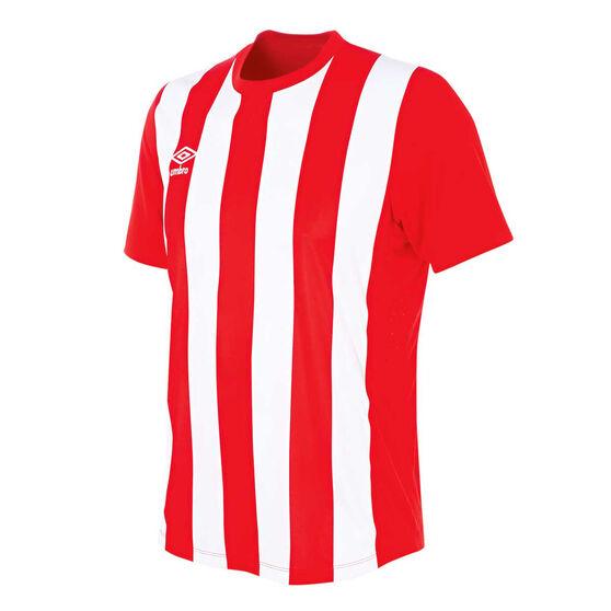 Umbro Mens Striped Jersey, Red / White, rebel_hi-res