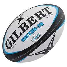 Gilbert Vector Training Rugby Ball White / Black 2.5, White / Black, rebel_hi-res