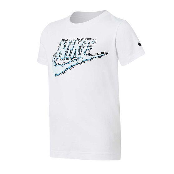 Nike Boys Futura Clouds Tee White 6, White, rebel_hi-res