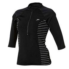 Speedo Womens Endurance Half Zip Sun Top Black / White 8 Adults, Black / White, rebel_hi-res