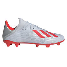 adidas X 19.3 Football Boots Silver / Red US Mens 7 / Womens 8, Silver / Red, rebel_hi-res