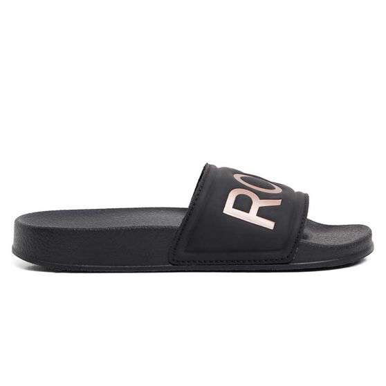 Roxy Slippy II Womens Slides, Black/White, rebel_hi-res