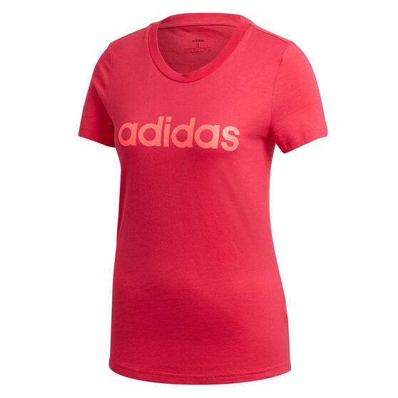 adidas Womens Essentials Linear Slim Tee Pink XS, Pink, rebel_hi-res