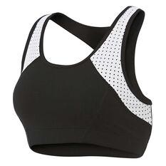 Running Bare Womens Old Skool Sports Bra, Black, rebel_hi-res