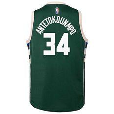 Nike Milwaukee Bucks Giannis Antetokounmpo Icon 2019 Kids Swingman Jersey Green S, Green, rebel_hi-res