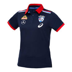 Western Bulldogs 2020 Womens Media Polo Navy S, Navy, rebel_hi-res