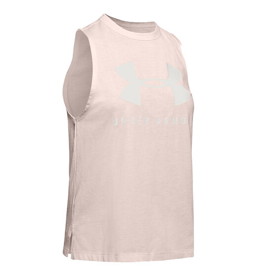 Under Armour Womens Sportstyle Graphic Muscle Tank Pink XL, Pink, rebel_hi-res
