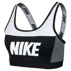 Nike Womens Distort Classic Sports Bra White / Black XS, White / Black, rebel_hi-res