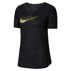 Nike Womens Icon Clash 10K Running Tee Black XS, Black, rebel_hi-res