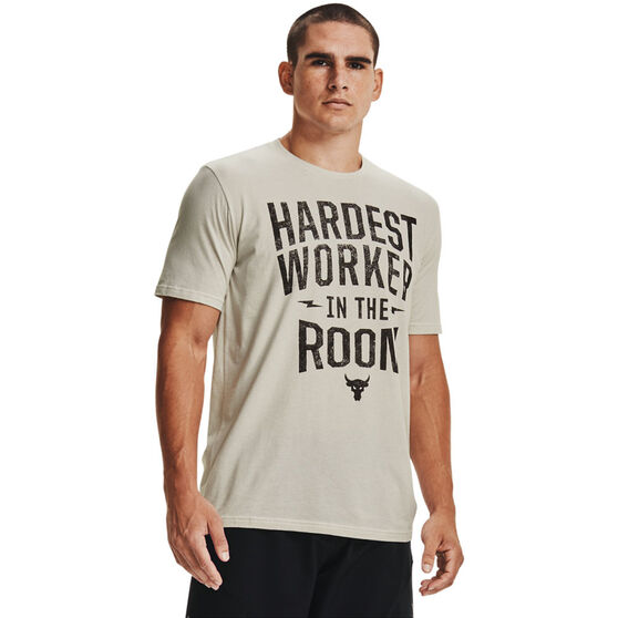 Under Armour Mens Project Rock Hardest Worker Tee, White, rebel_hi-res