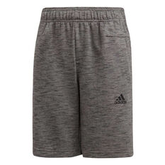 adidas Boys Training ID Stadium Shorts Grey / Black 10, Grey / Black, rebel_hi-res