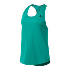 Reebok Womens Performance Mesh Tank Green XS, Green, rebel_hi-res