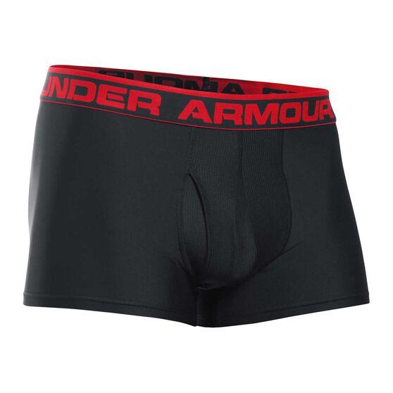 Under Armour Mens Original 3in Boxer Jock, Black / Red, rebel_hi-res