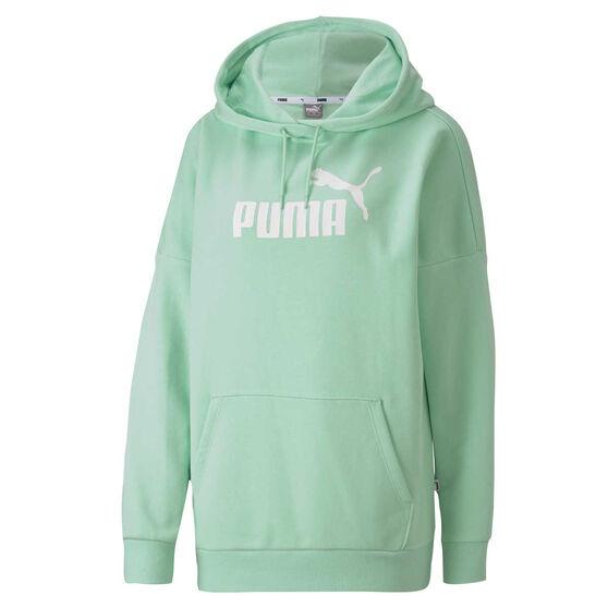 Puma Womens Essentials+ Elongated Hoodie Green XS, Green, rebel_hi-res