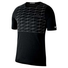 Nike Mens Rise 365 Run Division Running Tee Black S, Black, rebel_hi-res