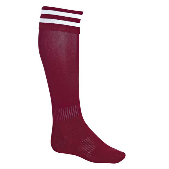 Burley Football Socks, Maroon  /  White, rebel_hi-res