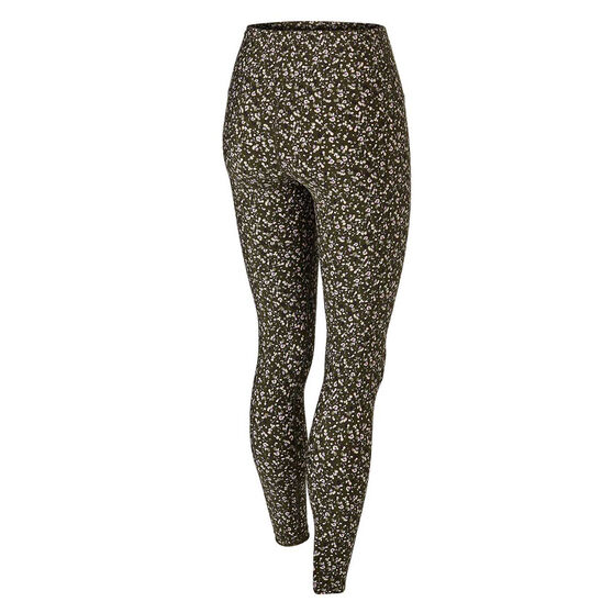 Running Bare Womens Ab Waisted Fight Club Tights, Print, rebel_hi-res