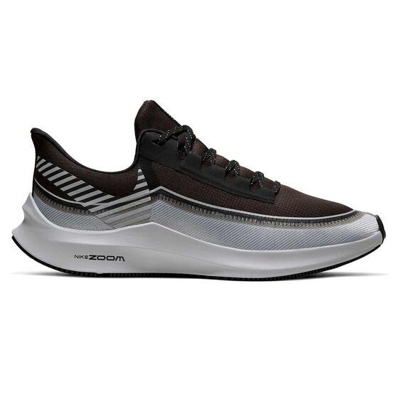 Nike Air Zoom Winflo 6 Shield Mens Running Shoes, Black / Silver, rebel_hi-res
