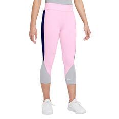 Nike Girls One Dri-FIT High-Rise Capri Leggings Pink/Grey XS, Pink/Grey, rebel_hi-res