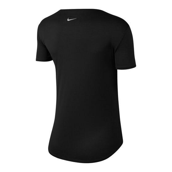 Nike Womens Swoosh Running Tee, Black, rebel_hi-res