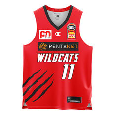 Perth Wildcats Bryce Cotton 20/21 Kids Home Jersey Red 4, Red, rebel_hi-res
