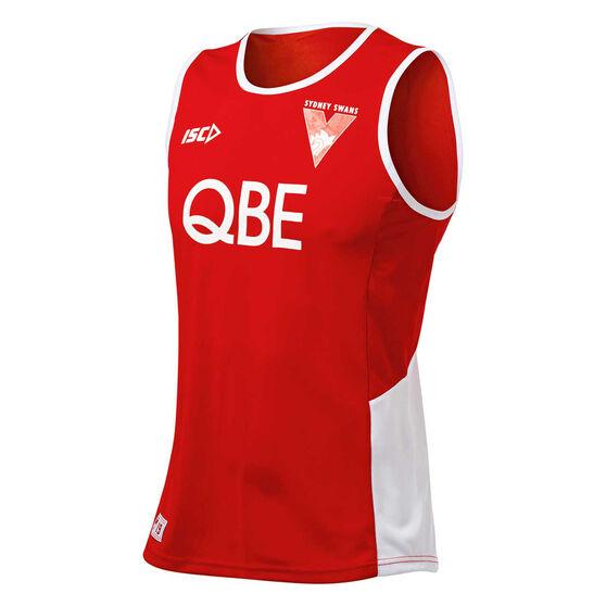Sydney Swans 2019 Mens Training Singlet, Red / White, rebel_hi-res
