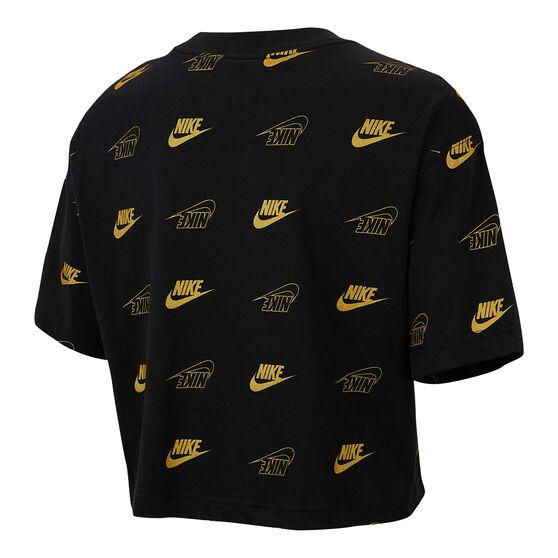 Nike Womens Sportswear Shine Cropped Tee, Black, rebel_hi-res