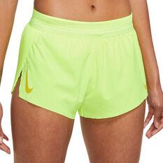 Nike Womens AeroSwift Shorts Volt XS, Volt, rebel_hi-res