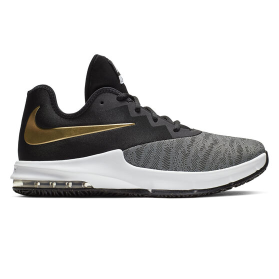 Nike Air Max Infuriate III Low Mens Basketball Shoes, Black / Gold, rebel_hi-res