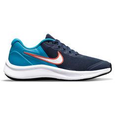 Nike Star Runner 3 Kids Running Shoes Navy/White US 4, Navy/White, rebel_hi-res