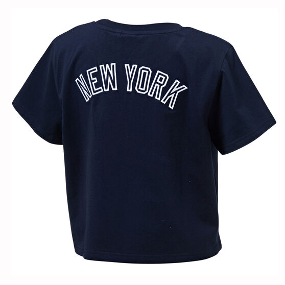 Majestic Womens NY Cropped Tee, Navy, rebel_hi-res