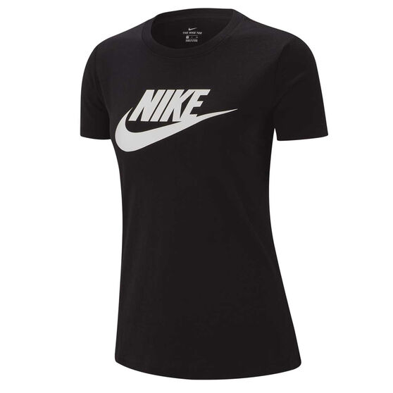 Nike Womens Sportswear Essential Icon Futura Tee, Black / White, rebel_hi-res