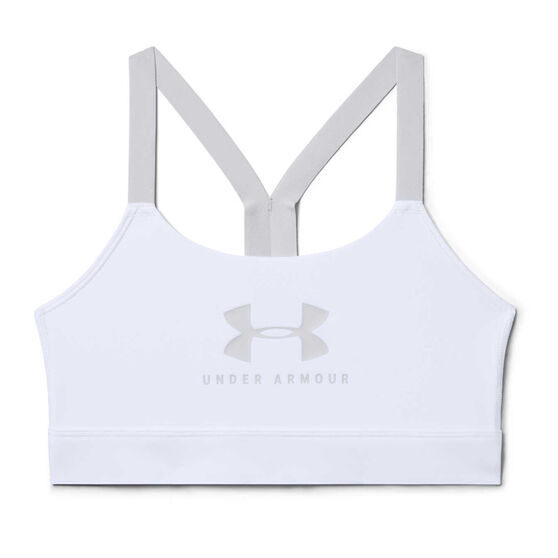 Under Armour Womens Mid Sportstyle Graphic Sports Bra, White, rebel_hi-res