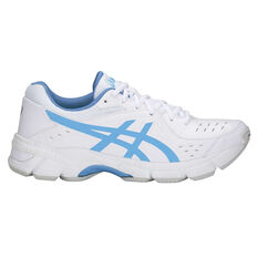 Asics GEL 195TR Leather D Womens Cross Training Shoes White / Blue US 6, White / Blue, rebel_hi-res