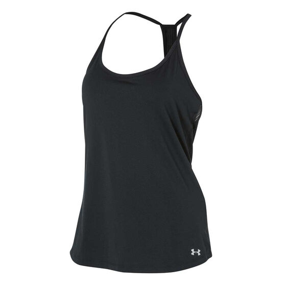 Under Armour Womens Fly By Racerback Tank Black XL, Black, rebel_hi-res