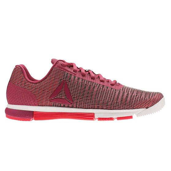 Reebok Speed Trainer Flexweave Womens Training Shoes, White / Red, rebel_hi-res