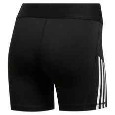 adidas Womens Alphaskin 3 Stripes Short Tights Black XS, Black, rebel_hi-res