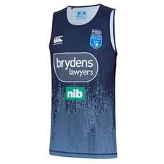NSW Blues 2019 Mens Light Blue Training Singlet Navy S, Navy, rebel_hi-res