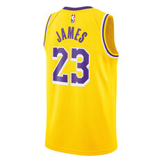 Nike Los Angeles Lakers LeBron James 2019 Mens Swingman Jersey Yellow S, Yellow, rebel_hi-res