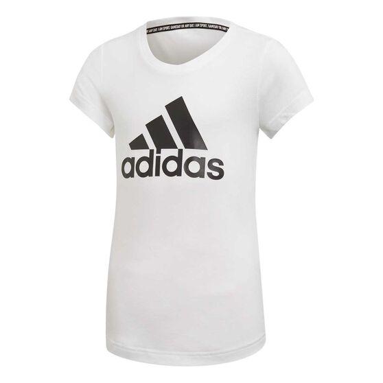 adidas Girls Badge of Sport Tee, White / Black, rebel_hi-res