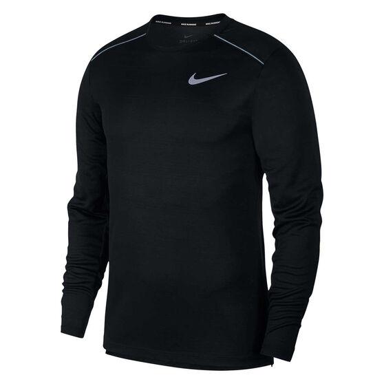 Nike Mens Dri-FIT Miler Long Sleeve Tee, Black, rebel_hi-res