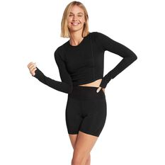 Nimble Womens Extend Long Sleeve Training Top Black XS, Black, rebel_hi-res