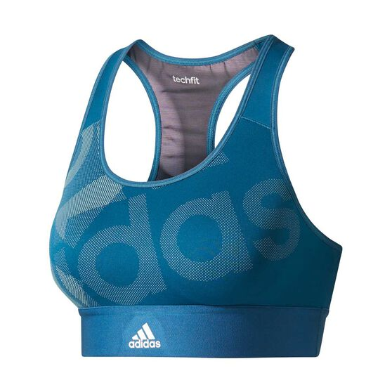 4035f8b3b0e70 adidas Womens TechFit Badge of Sport Bra Blue XS Adult