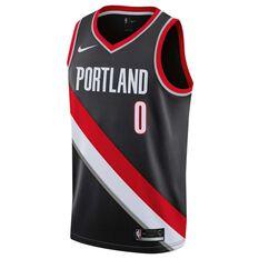 Nike Portland Trailblazers Damian Lillard 2019 Mens Swingman Jersey Black S, Black, rebel_hi-res