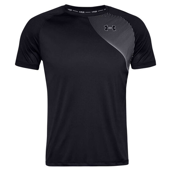 Under Armour Mens Qualifier Iso-Chill Tee, Black, rebel_hi-res