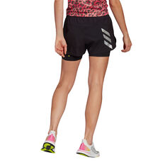 adidas Womens Primeblue 2in1 Running Shorts Black XS, Black, rebel_hi-res